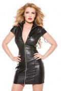 Faux Leather Dress Black Large