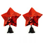 Bijoux Nipple Covers Sequin Star with Bells Red