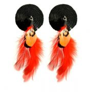 Bijoux Nipple Covers Sequin Round Feathers Black