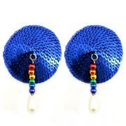 Bijoux Nipple Covers Sequin Round Rainbow Beads Blue