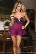 Babydoll & G-String Plum/Tan Large
