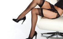 Sheer Thigh High Black Os/Xl