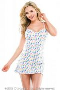 Chemise Heart Print Dress White O/S