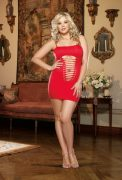 Seamless Chemise & Thong Red O/S Queen