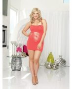 Seamless Chemise & Thong Coral O/S Queen