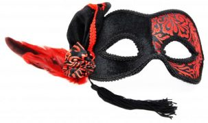 Venetian Half Mask Black/Red