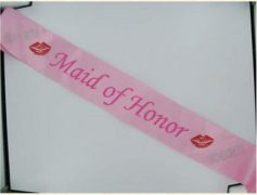 Maid Of Honor Sash W/Stones Pink