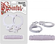 Metal Cuffs with Love Rope White