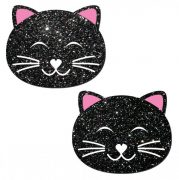 Kitty Cat Black Glitter Pasties