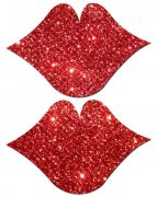 Lips Kisses Red Glitter Pasties O/S