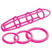 Neon Silicone Cage & Love Ring Set Pink
