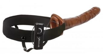10 Chocolate Dream Vibrating Hollow Strap-On