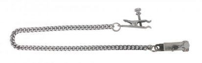 Adjustable Duck Bill Nipple Clamps With Jewel Chain Silver