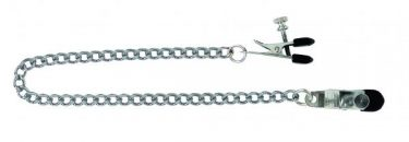 Adjustable Broad Tip Nipple Clamps With Link Chain Silver