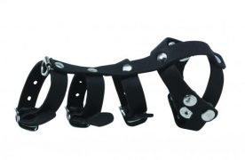 Buckle Vertebrate Divider Leather Cockcage Black