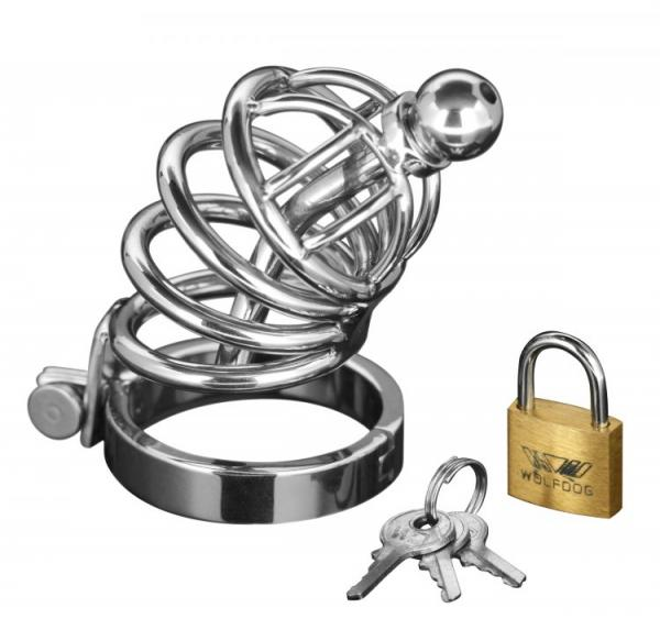 Master 4 Ring Chastity Cage Urethal Plug Sm/Md